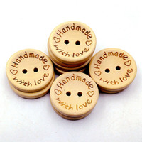 Wholesale Handmade Wooden Buttons - 15mm Wooden Buttons 2 holes round love heart for handmade Gift Box Scrapbook Craft Party Decoration DIY favor Sewing Accessories