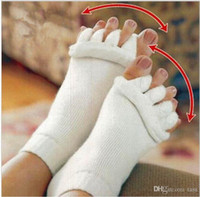 Wholesale Sleeping Massage Toe Socks - 5 colors Comfy Toes Sleeping Socks Massage Five Toe Socks Happy Feet Foot Alignment Socks free shipping