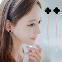 Wholesale Needle Sterling - Korea temperament earrings long tassels 925 needles after allergy clovers hanging earrings, Japan and South Korea fashion earrings