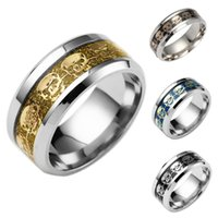 Wholesale Titanium 14k Gold Inlay Wholesale - Titanium Steel Jewelry 2017 New Fashion Gold Plated Stainless Steel Rings Silver Inlay Skeleton Ring EC-105