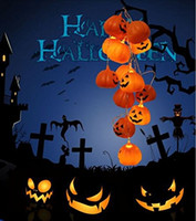 Wholesale Halloween Plastic Skeleton - Flashing Halloween Pumpkin Skeleton Lamp String LED Light Festival Party Decor PVC Plastic + Electronic Components funny events