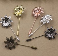 Wholesale Vintage Pin Back - 07669 50*29MM Stylish metal silver Pink Flower Suit Lapel pin men badge, women vintage floral lapel pin brooch backs base, scraf pin up girl