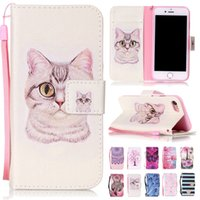 Wholesale S4 Flower Case - Flip Wallet PU Leather Card Slots Cover Case For iPhone 5s 6 7 plus Samsung Galaxy S4 S5 S6 edge Plus Cat Butterfly Flower Pattern