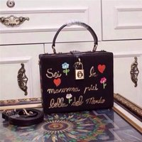 Wholesale top grade handbags - Top Grade Lady Shoulder Bag Luxury Brand Dollce Box Black Lace Leather-trimed Clutch Flower Embroidery Embellished Sequin Women Handbag