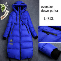 Wholesale Long Padded Hooded Coats Women - Plus Size Down Parkas Women Winter Coat Long Jacket Outdoor Snow Coat Warm Outwear Overcoat Hood 90% White Duck Down Padded Thickening 5XL