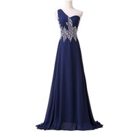 Wholesale hollow plus size special occasion dresses online - One Shoulder Beading Long Evening Prom Dresses Evening Wear Special Occasion Plus Size Formal Cheap Party Gowns Dress Guest Dress