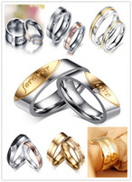 Wholesale Tension Set Couples Rings - Fashion Couple Rings Stainless Steel Ring For Women MenTitanium Wedding Rings With Rhinestone Jewelry Engagement Wedding Gift