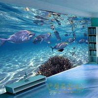 Wholesale sound absorbing materials - Wholesale-Free shipping Special mural wallpaper underwater world study children's room environmentally friendly material Custom sizes