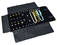 rollo de joyería de terciopelo al por mayor-Oro Esquina de terciopelo negro Combo Ring Earring Necklace Travel Roll Joyería Display