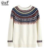 Wholesale Korean Geometric Print Sweater - Wholesale-Dotfashion Korean Winter Clothes Autumn 2016 Women Sweaters Jumper Women Pullover Beige Geometric Print Sweater