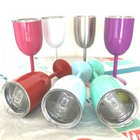 Wholesale Wine Bottle Oz - Fashion 10 oz Wine Cups 9 Color Wine glasses wine cooler Stainless steel Bottle Tumbler True North mugs By DHL Free shipping