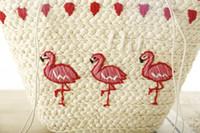 koreanische stickentasche großhandel-2017 heiße neue koreanische Stickerei Frauen Handtasche große Stroh Umhängetasche Mode Flamingo Strand Taschen große Tote gewebte Tasche