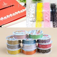 Vente en gros - 2016 Lace Personality Roll DIY Washi Paper Decorative Sticky Plastic Masking Tape Self Scrapbooking tools Adhésifs Office Suppl