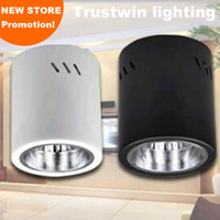 Wholesale Downlight Holders - Wholesale- 4 pieces spot bulb fixture Halogen round holder white black E27 lamp holder hanging flush surface mounted LED downlight fixture