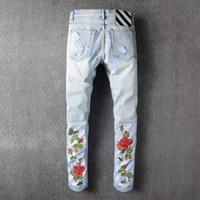 Wholesale Harem Pants Plaid Man - Men's Ripped Biker Jeans Embroidery Jeans Blue Black Famous Brand Designer Mens harem pants Destroyed Denim Hip Hop Pants For Men