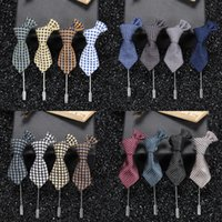 Wholesale Classics Men s Casual Tie Suit Colorful Handmade Boutonniere Stick Brooch Pin Randomly Send