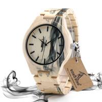 movimiento de cuarzo reloj batería al por mayor-BOBO BIRD O17 Macho Relojes de madera de arce Movimiento de la batería de cuarzo Reloj popular para hombres en caja de regalo