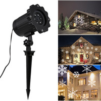 Wholesale Led Christmas Snowflakes - Christmas Snowflakes Projector Light Outdoor Indoor Moving White Snowflake LED Landscape Projection Lamp for Party Holiday Halloween Garden