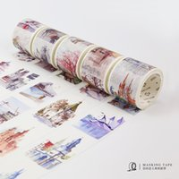 Wholesale World Travel Stickers - Wholesale- 2016 4cm*7m Travelling the World Buildings Washi Tape Adhesive Tape DIY Scrapbooking Sticker Label Masking Tape