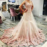 Wholesale Sexy Aline Prom Dresses - 2017 New Arrival Pink Evening Dresses V neck Appliques Beaded Tulle Pageant Gown Aline Formal Goan robe de soiree vestido de festa