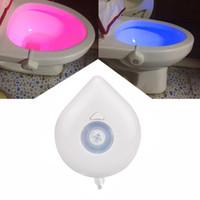 automatische sensorleuchten großhandel-Neue 8 Farbe LED Nachtlicht Bewegungssensor Automatische WC Hängeleuchte Schüssel mit Farbeinstellung AAA Batteriebetrieben