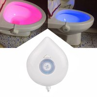 Wholesale Hung Toilets - New 8 Color LED Night Light Motion Sensor Automatic Toilet Hanging Light Bowl with Color Setting AAA Battery-Operated