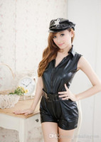 Sexy Wet Look Metallico Ruolo Gioco Poliziotto Donne Cop Copricapo anteriore Cappello e Waist Band Playsuits Costume Biancheria Set