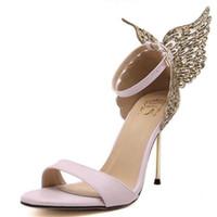 Wholesale Valentine Butterflies - 2017 New Fashion Valentine Shoes Bronzing sequins Butterfly High Heels Sandals Stiletto Party Wedding Sandals