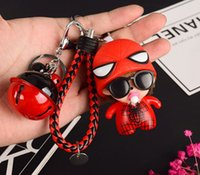 Wholesale Monchichi Dolls - 50 style Monchhichi Bell Dolls PVC Cartoon Cute Monchichi Keychain Keyring Holder Lady Bag car Pendant Spiderman keyring K035