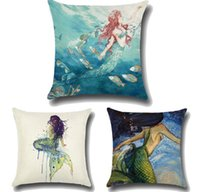 Wholesale room chair covers - New beauty mermaid Printed Cushion Cover linen pillow cover chair oil painting style sofa bed car room Home Dec wholesale FG553