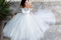 Wholesale White Bolero Shirt - New Simple Ball Gown Sweetheart Bridal Dress Floor Length Tulle Wedding Dress Lace Off the Shoulder Bolero Half Sleeve