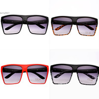 Wholesale Sports Wear For Adult - Unisex retro sunglasses Square Plastic Oversized Frame Eye Wear UV400 4 Frame Colors Adult For Outdoor Beach Sport