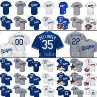 Wholesale Los Dodgers - 35 Cody Bellinger Custom Los Angeles Dodgers Baseball Jerseys Clayton Kershaw Corey Seager Piazza Gonzalez Puig Robinson Hernandez Jerseys