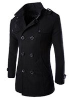 Wholesale Men Peas - Wholesale- MLG Mens Classic Double Breasted Mid Long Trench Pea Coat