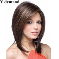 Wholesale China Synthetic Wigs - China Wig BOB Fashion Short Brown Haircuts Straight Hair Wig African American Synthetic None Lace Full Wigs Celebrity Wig Wholesale