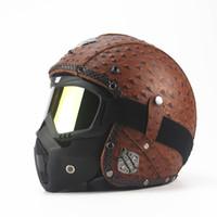 Wholesale Open Face Leather Helmets Motorcycles - Wholesale- Black Adult Open Face Half Leather Helmet Harley Moto Motorcycle Helmet vintage Motorcycle Motorbike Vespa