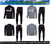Wholesale Black Track Suits - top quality 2017 2018 Monaco Soccer set Carvalho Dirar Silva Carrillo training suit 17 18 black gray track suit free shipping