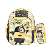 Wholesale Minion Backpacks - The Right Choice 2017 New Arrival Polyester Kids School Bag Minions Kids Backpack With Pencil Bag Set Best Deal Back To School Offer