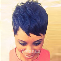 Wholesale Hair Wigs Nature - Fashion Short Wigs Human Hair Pixie Cut Short Wigs Nature Color Women Party Sexy Short Straight Wigs