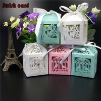 Wholesale Laser Cut Paper Birdcages - Wholesale- 50pcs wedding candy box laser cut paper box birdcage love heart Mr&Mrs chocolate packaging mariage favors wedding decoration