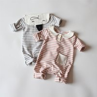 Wholesale Baby Clothes Stars - INS new arrival fall baby kids climbing romper long sleeve full cat star print o-neck girl kid romper + cherry accessary kid clothing romper