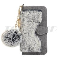 Wholesale Fuzzy Phone Cases - Hybrid Magnetic Detachable Wallet Leather Case For Iphone 7 Plus I7 6 6S Strap Fuzzy Fur Hair Rabbit Pouch Card Phone Cover Fashion