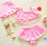Wholesale Cute Korean Baby Clothes - Korean 2017 Baby Girls Cotton Bikini Kids Girl Fashion Beach Swimsuits Babies Cute Swimwear children's Summer clothing