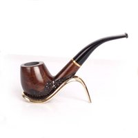 Wholesale Smoking Ebony Pipe - Classic Wooden Enchase Carved Smoking Tobacco Pipes Cigar Cigarette Filter Lobular Ebony Acrylic Bent A388