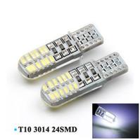 Wholesale Led Light Bulb Flashing - T10 Strobe Flash Shine 24 SMD 3014 LED Silicone T10 Auto W5W 24SMD Car Auto License Plate Clearance Lights Wedge Light Bulb Lamp White 12V