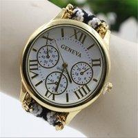 наручные часы для браслетов оптовых-Женева Weave Dress часы Женские Женские Браслеты часы Ручной Работы Плетеные Часы ручной работы браслет Браслет кварцевые Часы 100 шт.