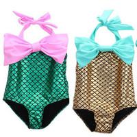 Wholesale Sling Swim Wear - Girls Summer Sling Fashion Swimsuit Set bow-knot Mermaid Swimwear Children's Swim Wear Girls Bikini Swimwear Children's Swimwear 1019