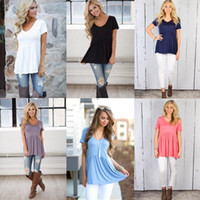 Wholesale Babydoll Top L - Women's Summer Loose Fit Top Fashion Casual Round Neck Short Sleeve Peplum Babydoll Tunic Tops Solid Color T-Shirt Blouse