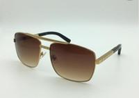 разрабатывает золото оптовых-отношение мужчины солнцезащитные очки Солнцезащитные очки золото рамка квадратная металлическая рамка ретро стиль открытый дизайн классической модели