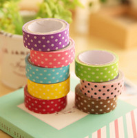Wholesale Scrapbooking Dots - Wholesale- 2016 G37 5X Polka Dots Masking Tape Washi Adhesive Stationery Decorative Scotch Sticker Fita Cadernos Adesivo DIY Scrapbooking
